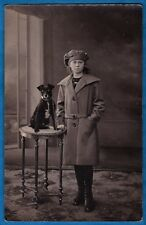 vintage rppc photo young girl & cute puppy dog chien Netherlands ca 1920