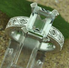 Antique Inspired 3.04 ct 14k White Gold Ladies Natural Aquamarine & Diamond Ring
