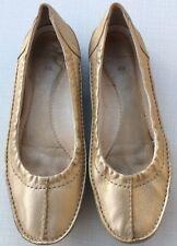 Clarks Uk 4.5 Eu 37.5 Gold Leather Ballet Flats Evening Party Wear Comfort