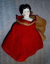 antique glazed china head doll as found