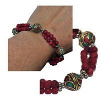 Bracelet ethnique plaqué argent laiton perle corozo rouge turquoise corail bijou