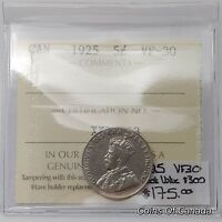 1925 Canada 5 Cents RARE ICCS VF-30 Book Value $300 #coinsofcanada