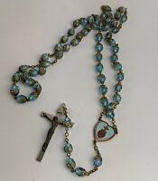 Vintage Rosary Beads Aqua Blue facet beads & Enamel - Fine Quality