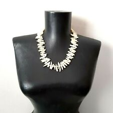 Vintage Mother Of Pearl shell Chunky Necklace White Summer