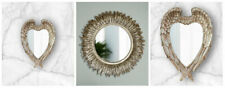Shabby Chic Angel Wings Wall Mirror Elegant Round Feathered Mirror Home Decor