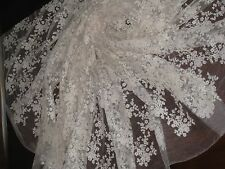 VINTAGE COMPLEX WHITEWORK FINE TULLE/NET~ByYard~FASHION DOLL~BRIDAL~PROJECT~NOS