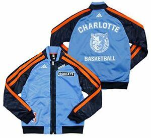 Adidas NBA Basketball Youth Charlotte Bobcats On The Court Warm Up Jacket, Blue
