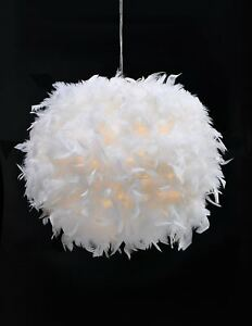 Large Feather Ceiling Pendant Light Shade Modern Bedroom Nordic Style Lampshade