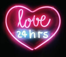 "New Love 24 Hrs Lover Acrylic Panel Handcrafted Neon Light Sign 13""x12"" LT23S"