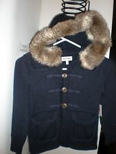 NEW Juicy Couture NAVY BLUE TOGGLE  Jacket with Fur Hood KIDS SIZE 4/5 COAT TOP