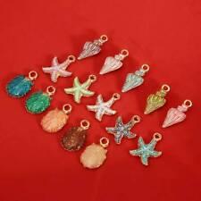 15pcs Enamel Starfish Shell Conch Pendants Craft Jewelry Accessories Gr
