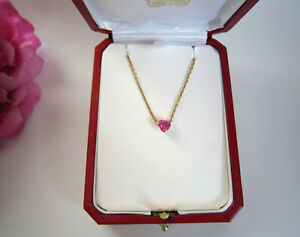 Cartier 18 carat gold and pink sapphire Heart necklace. 100%auth. Stunning.