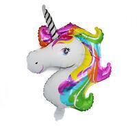 70x46cm Rainbow Unicorn Head Foil Balloon Kids Birthday Party Balloons Decor HF