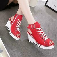 Womens High Top Platform Sneakers SandalsWedge Heels Canvas  Open Toe Shoes Size