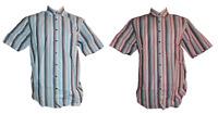 Lorenzo Calvino Herren Hemd Freizeithemd Kurzarm Blau Rot Gr. M