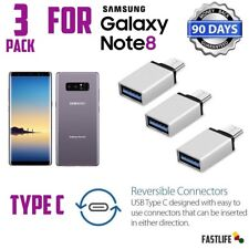 3x Silver OTG Adapter Type-C to USB 3.0 For Samsung Galaxy S8 Plus Active Note8
