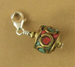 Tibetan mala bead clip-on charm. Brass, red and blue. Sterling silver 925.