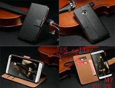 Luxury Leather Card Flip Wallet Case Stand Cover Pouch For HTC ONE M7