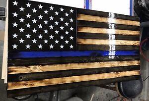 "Thin Blue Line 36"" Rustic Flag. American Flag, US Flag Police"