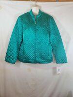C.L.O.T.H.E.S. Green Puffer Jacket Light Weight Womens Size Medium Long Sleeve
