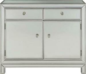 NIGHTSTAND MODERN CONTEMPORARY ANTIQUE SILVER PAINT SOLID WOOD 2 -DOOR -