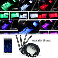 4Pcs 12 LED RGB Autos Atmosphere Lights Interior Kit + Mobile Phone App Control
