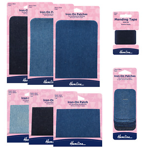 Hemline DENIM REPAIR PATCH / TAPE - Iron-on Fabric ALL COLOURS & ALL SIZES