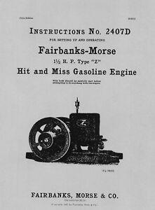 Fairbanks Morse 1½ HP Type Z Instructions No. 2407D