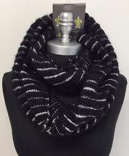 New Women fashion Shiny Knit 2-Circle Cowl Long Infinity Scarf Wrap Black/White