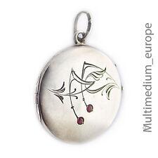 Jugendstil Silber Medaillon Anhänger rot art nouveau silver locket pendant red