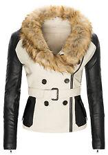 Ladies Faux Leather Jacket Biker Look Fur Collar Women's D-129 NEW