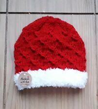 Hand  Knitted Baby 🎅Santa Beanie Hat 0-3 MTHS