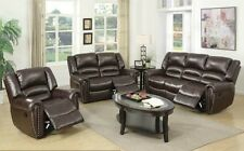 Motion Sofa Loveseat & Glider Recliner Brown Bonded Leather Living Room Modern
