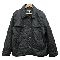 Preston & York Light Quilted Jacket Coat Women's L Black Lined Button Down