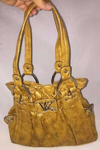 KATHY Van Zeeland Gold Faux Leather Vinyl Snakeskin Shoulder Hobo Bag Tote Purse