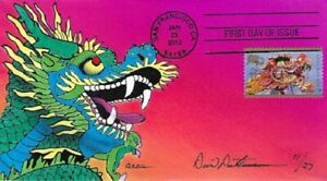 Peterman Hand Painted Year of the Dragon Sc#4623 First Day