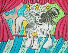 Dog Pop Art Print 5 x 7 Chinese Crested on Stage by artist Ksams