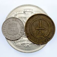 1848-1974 Dominican Republic Coin Lot of Three 1/4 R, 2 1/2 Cent, Silver Peso