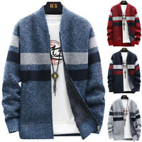 Mens Casual Knitted Cardigan Sweater Coat Jumper Jacket Winter Outwear Tops AU