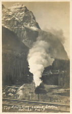 BANFF, CANADA - TRAIN ENTERING LOWER SPIRAL TUNNEL FIELD - REAL PHOTO POSTCARD