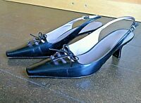Shoes Heels Sling Back Buckle Black Leather Slim Women's Size 7.1/2 m Toe Sole