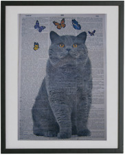 British Shorthair Cat Print No.92, dictionary art, housewarming gift, cat poster