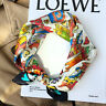 100% Silk Small Scarf Fashion Cartoon Cat Print Bandana Neck Hair Headband 53cm