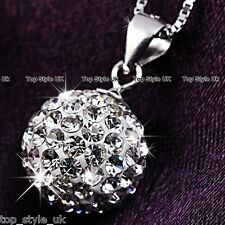 925 Silver Crystal Love Ball Necklace Pendant Chain Gifts for her Women Mum FR2