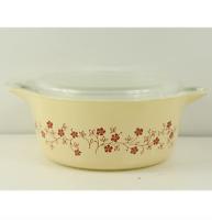 Vtg Mid Century Modern Pyrex 475-B Trailing Flowers 2.5 L Casserole Dish w Lid