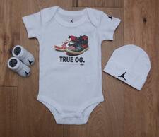Air Jordan Baby Boy Hat, Bodysuit & Booties Set~White, Red, Gold & Black~True OG
