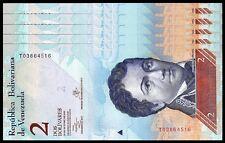VENEZUELA 2 BOLIVARES 2013 UNC 5 PCS CONSECUTIVE LOT P 88
