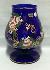 Vintage Czech Bohemian Large Goblet Cobalt Blue Glass Enameled and Gold Plated