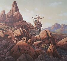 PRAYER TO THE FOUR WINDS, Richard Luce, S/N Print, Indian on Horse