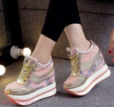 Womens Fashion Sneakers High Wedge Platform Heels Lace-up Sports Shoes Camo new